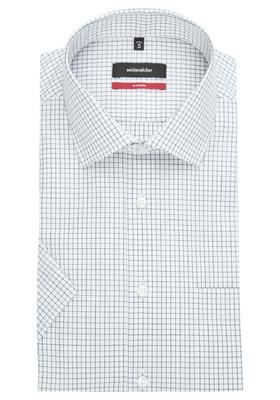 Seidensticker Modern Fit overhemd korte mouw, blauw-zwart-wit geruit