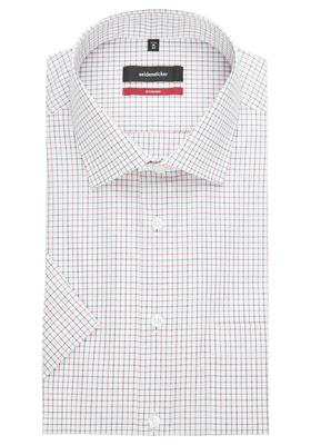 Seidensticker Modern Fit overhemd korte mouw, rood-zwart-wit geruit