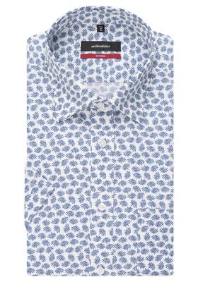 Seidensticker Modern Fit overhemd korte mouw, blauw-wit dessin