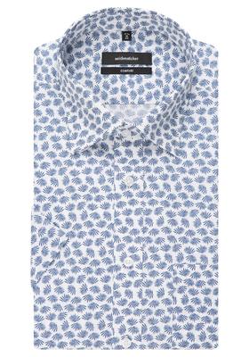 Seidensticker Comfort Fit overhemd, korte mouw, blauw-wit dessin