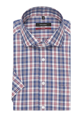 Seidensticker Comfort Fit overhemd, korte mouw, blauw-rood geruit