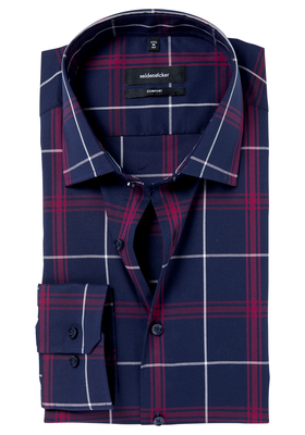 Seidensticker Comfort Fit overhemd, blauw-roze geruit