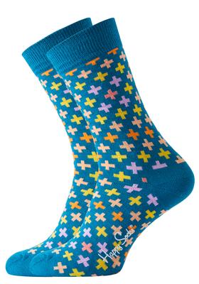 Happy Socks sokken Plus Sock jeansblauw met kleurtjes