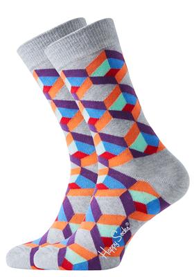 Happy Socks sokken, Optic Square Sock grijs met kleur
