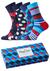 Happy Socks herensokken, Navy Gift Box in rood-wit-blauw