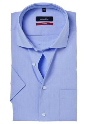 Seidensticker Modern Fit overhemd korte mouw, lichtblauw (contrast)