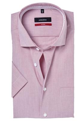 Seidensticker Modern Fit overhemd korte mouw, rood-wit gestreept (contrast)