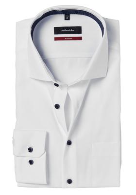 Seidensticker Modern Fit overhemd, wit (gestipt contrast)