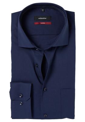 Seidensticker Modern Fit overhemd, donkerblauw (gestipt contrast)