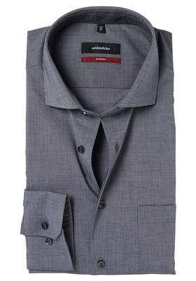Seidensticker Modern Fit overhemd, antraciet (gestipt contrast)