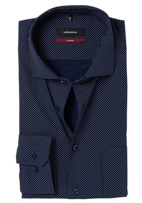 Seidensticker Modern Fit overhemd, donkerblauw gestipt (contrast)