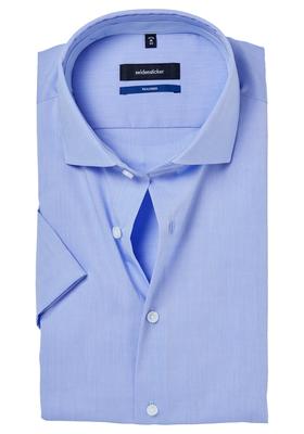 Seidensticker Tailored Fit overhemd korte mouw, lichtblauw (contrast)