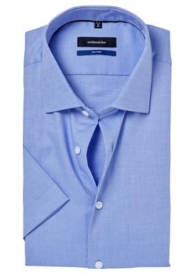 Seidensticker Tailored Fit overhemd korte mouw, blauw structuur