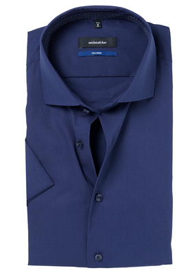 Seidensticker Tailored Fit overhemd korte mouw, donkerblauw (contrast)