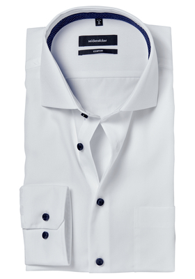 Seidensticker Comfort Fit overhemd, wit (gestipt contrast)
