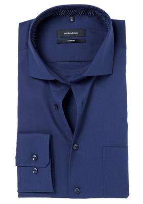 Seidensticker Comfort Fit overhemd, donkerblauw (gestipt contrast)