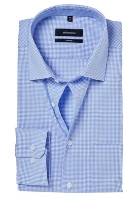 Seidensticker Comfort Fit overhemd, lichtblauw geruit (contrast)