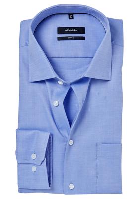 Seidensticker Comfort Fit overhemd, blauw structuur