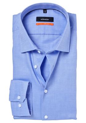 Seidensticker Slim Fit overhemd, blauw structuur