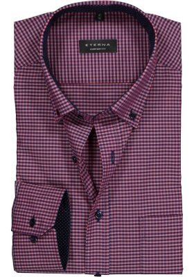 ETERNA Comfort Fit overhemd, rood-blauw geruit (button-down)