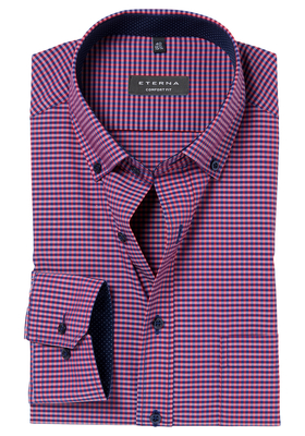ETERNA Comfort Fit overhemd, rood-blauw geruit (button-down)