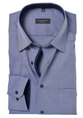 ETERNA Comfort Fit overhemd, donkerblauw structuur (contrast)