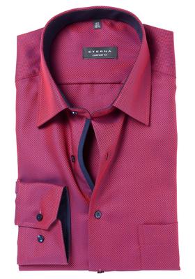 ETERNA Comfort Fit overhemd, rood-blauw structuur (contrast)