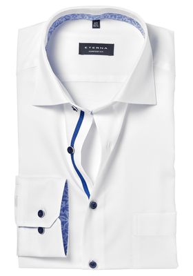ETERNA Comfort Fit overhemd, wit structuur (blauw contrast)