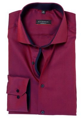ETERNA Modern Fit overhemd, rood-blauw structuur (contrast)