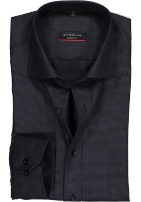 ETERNA modern fit overhemd, twill met structuur heren overhemd, antraciet