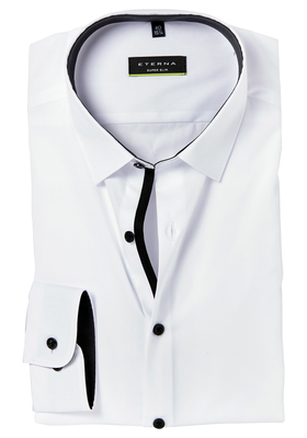 Eterna, Super Slim Fit Stretch overhemd, wit (zwart contrast)