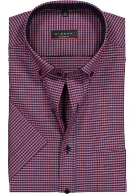 Eterna Modern Fit overhemd, korte mouw, rood-blauw geruit (contrast)