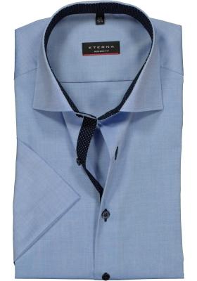 ETERNA modern fit overhemd, korte mouw, heren overhemd fijn Oxford, blauw (gestipt contrast)