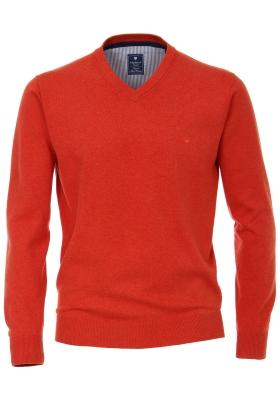 Redmond heren trui katoen, V-hals, warm oranje