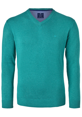 Redmond heren trui katoen, V-hals, turquoise