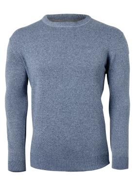 Redmond heren trui katoen, O-hals, blauw melange