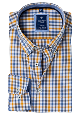 Redmond Regular Fit overhemd, oker-blauw geruit