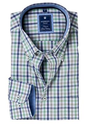 Redmond Regular Fit overhemd, blauw-groen geruit