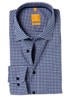 Redmond Modern Fit overhemd, blauw geruit