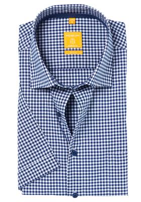 Redmond Modern Fit overhemd, korte mouw, blauw geruit (contrast)
