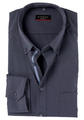 Eterna Modern Fit overhemd, mouwlengte 7, antraciet structuur (contrast)