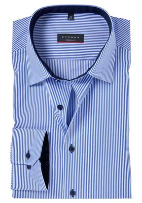 Eterna Modern Fit overhemd, Mouwlengte 7, blauw gestreept (contrast)