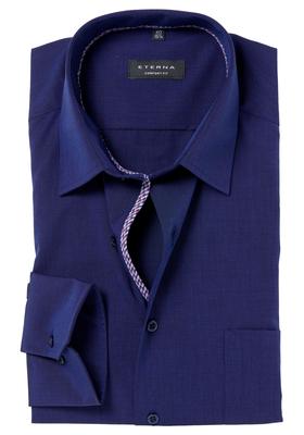 ETERNA Comfort Fit overhemd, mouwlengte 7, donkerblauw (rood-wit-blauw contrast)