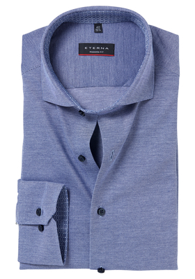 Eterna Modern Fit Tricot Stretch overhemd, blauw tricot (contrast)