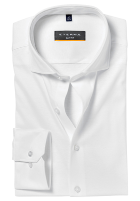 ETERNA Slim Fit Tricot Stretch overhemd, wit tricot