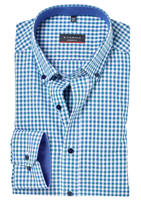 ETERNA Modern Fit overhemd, blauw-groen geruit (button-down)