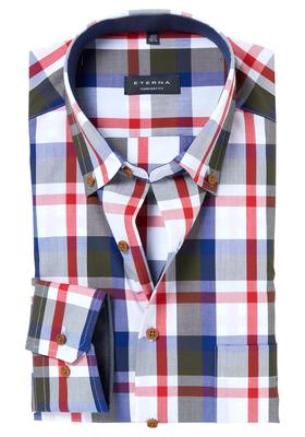 ETERNA Comfort Fit overhemd, geruit (contrast)