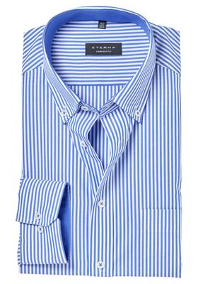 ETERNA Comfort Fit overhemd, blauw gestreept (contrast)