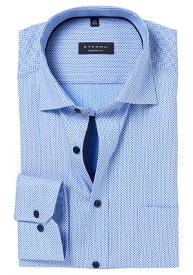 ETERNA Comfort Fit overhemd, lichtblauw ingeweven dessin (contrast)