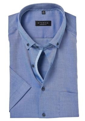ETERNA Comfort Fit korte mouw, blauw lightweight (contrast)